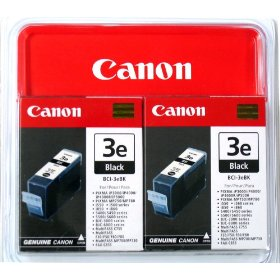 Genuine OEM Canon BCI3eBk (BCI-3eBk) Black Inkjet Cartridge (twin pk)