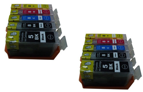 Premium Quality  BK, C, M, Y (Bulk Package-2 pcs each of PGI5Bk, CLI8Bk, C,M,Y)  Inkjet Cartridges compatible with the Canon (PGI-5) 0628B002, 0621(2)(3)B002