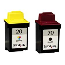 Genuine OEM Lexmark 15M2328 (Lexmark 20, Lexmark 70) Black Ink Cartridge (2 pk)