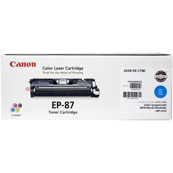 Genuine OEM Canon 7432A005AA (EP-87) Cyan Toner Printer Cartridge (4000 page yield)