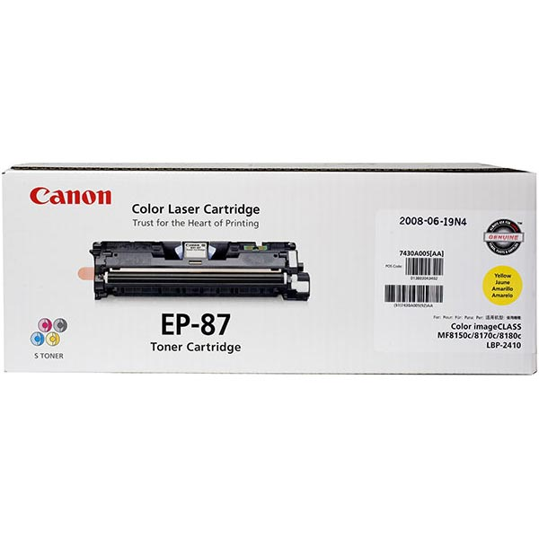 Genuine OEM Canon 7430A005AA (EP-87) Yellow Toner Printer Cartridge (4000 page yield)