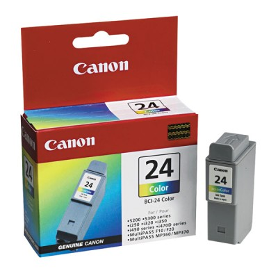 Genuine OEM Canon 6882A003AA (BCI-24C) Tri-Color Inkjet Cartridge (140 page yield)