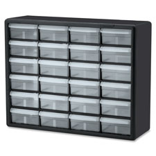 "Plastic Storage Cabines,24-Drawer, 6-3/8""x20""x16"", BK/CL"